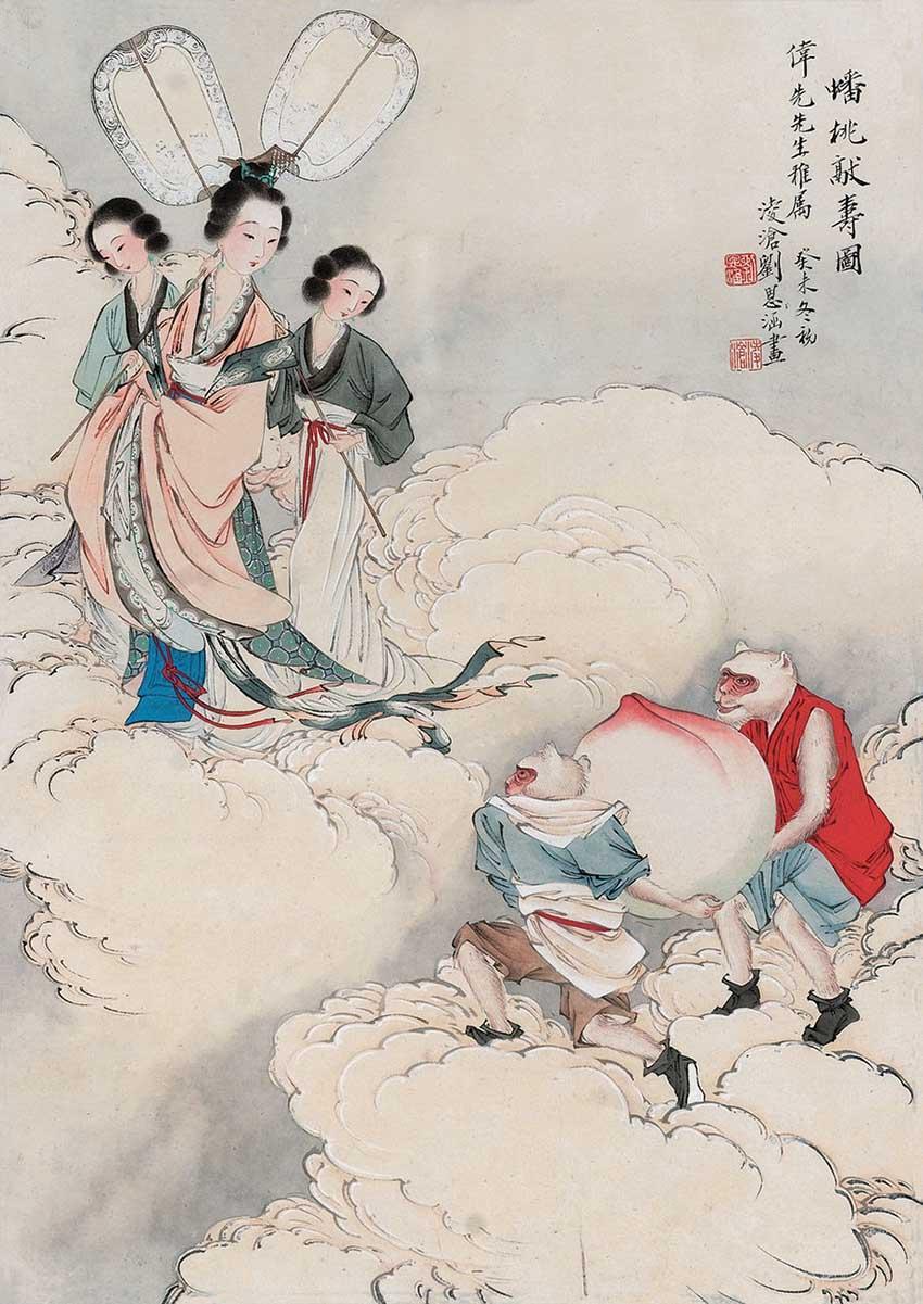 著名工笔重彩人物画大师-刘凌沧中国画